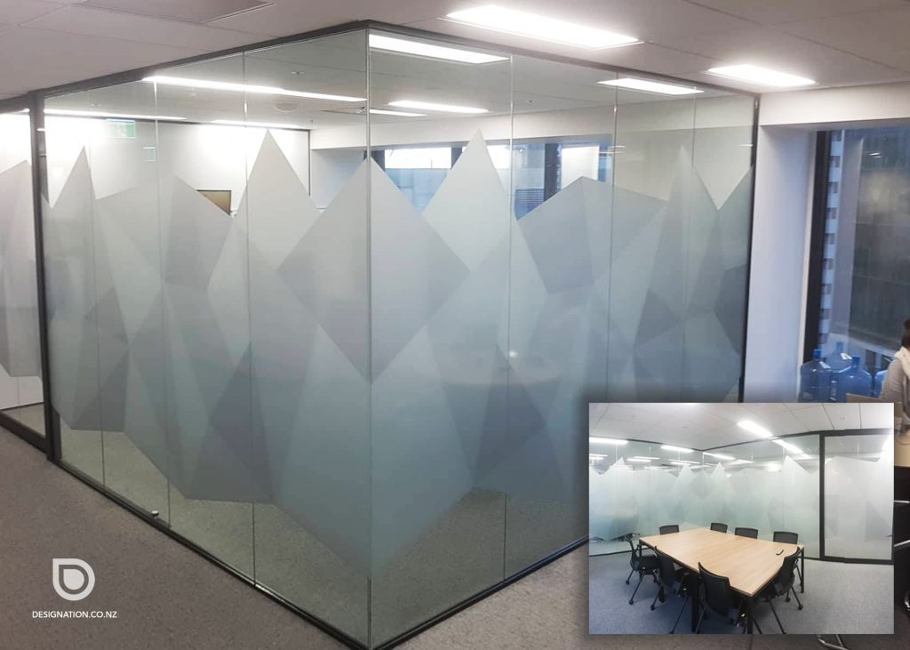 Business meeting room privacy with window frosting