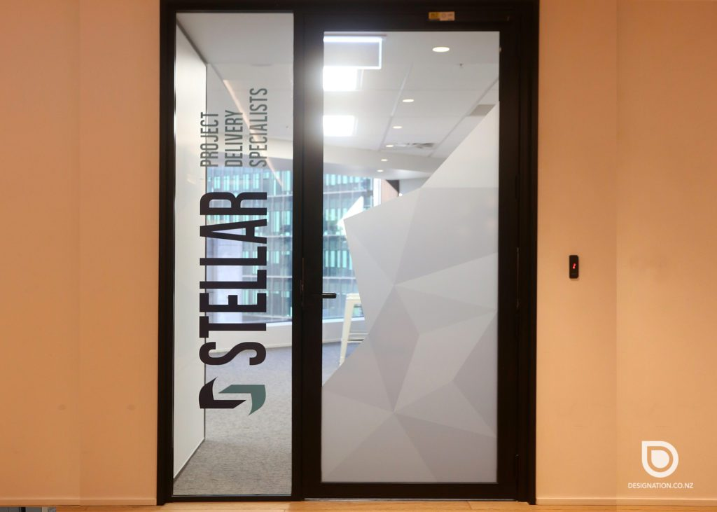 Printed window frosting used as signage